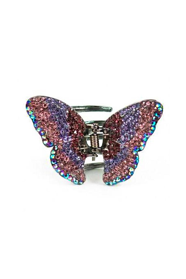 Soho Style Hair Jaws Purple / Single Ombre Crystal Butterfly Jaw