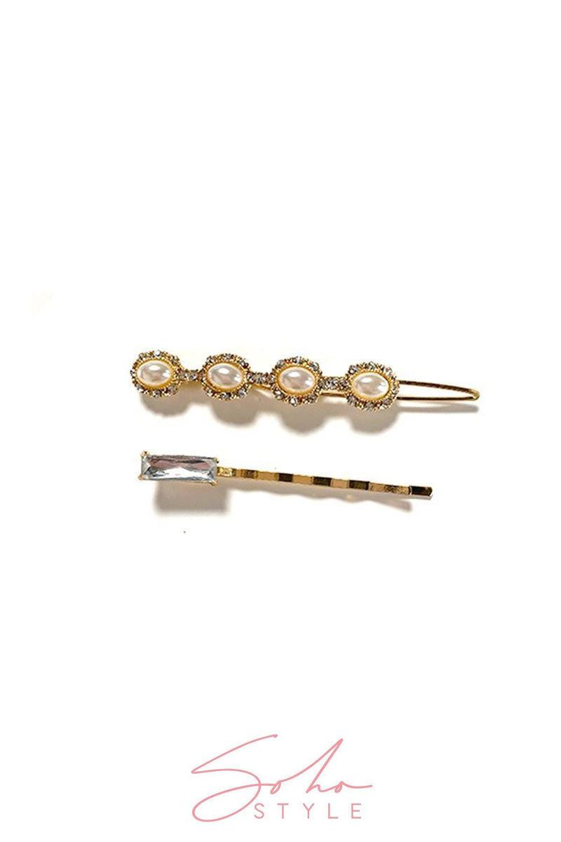 Mother of Pearl Bobby Pin & Art Deco Pearls & Crystal Bobby Pin Duo set Hair Accessorie Soho Style