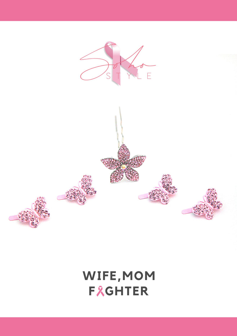 Pink Butterfly flower Set breast cancer Soho Style