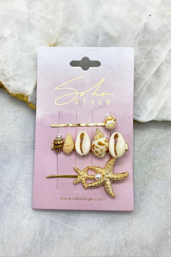 Seashell and Twin Starfish Bobby Pin 3PCS Set Bobby Pins Soho Style