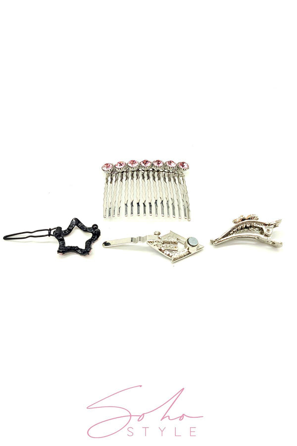 3 PCS Pearl and Crystal Curved Combs Set Hair Comb Soho Style