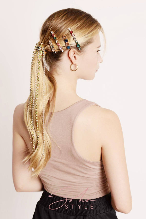 Multi-Colored 4-Stone Hair Bejeweled Barrettes Barrette 2020