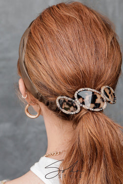 Rounded Vintage Inspired Leopard Print Tortoiseshell Barrettes Hair Clip