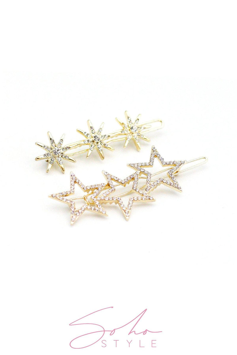 Starlight and COSMIC RAYS CRYSTAL BARRETTE Set Barrette Sale