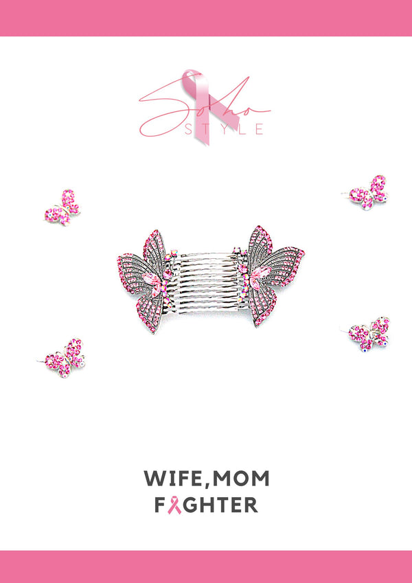 Pink Butterfly comb and clip set breast cancer Soho Style