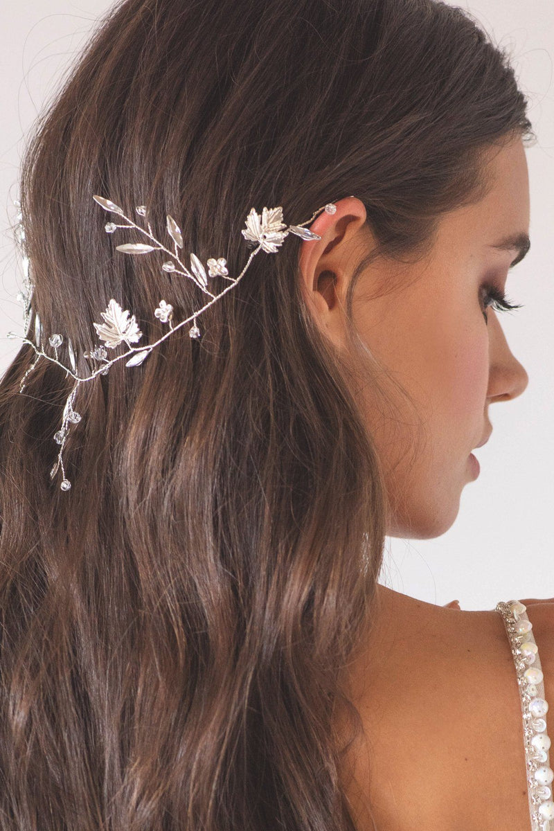Silver Leaves Crystal Headpiece