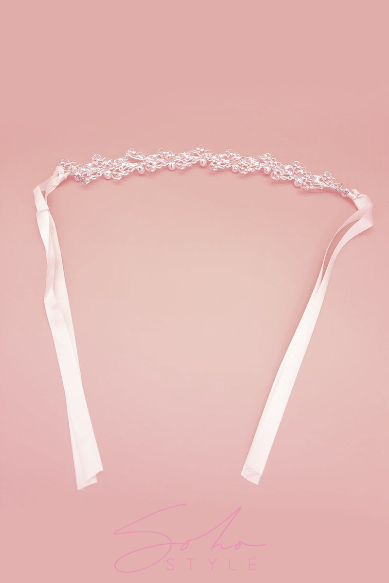 Pearls on a Silver Vine Headband Wedding Sale