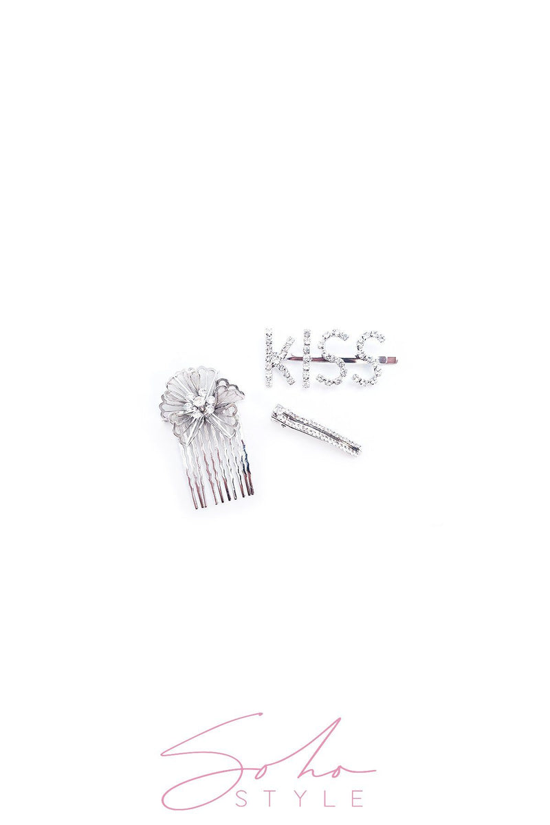 3PCS kiss pin, crystal clip and flower comb set hair acc Sale