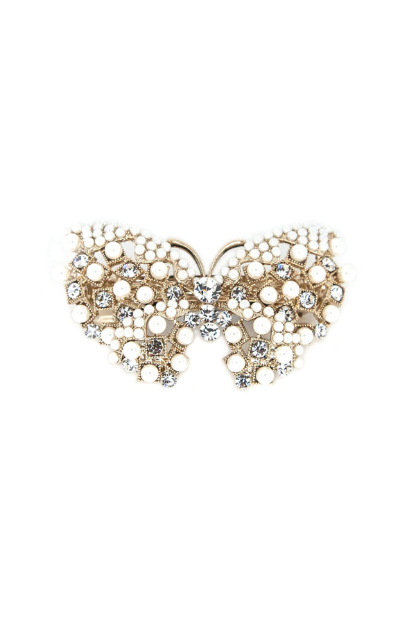 Speckled Pearl Butterfly Barrette