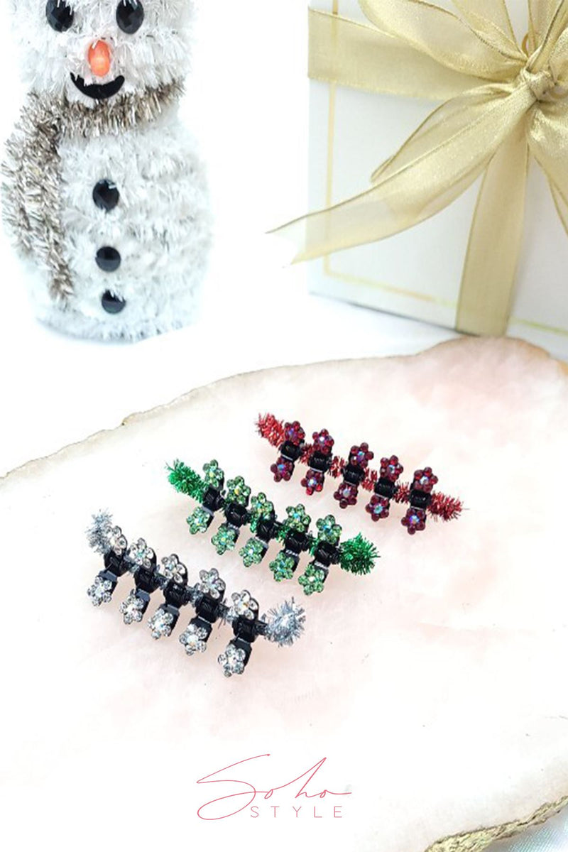 Christmas Special Jaws - MINI FLOWER HAIR JAWS WITH CRYSTAL PETALS Hair Jaws 2020