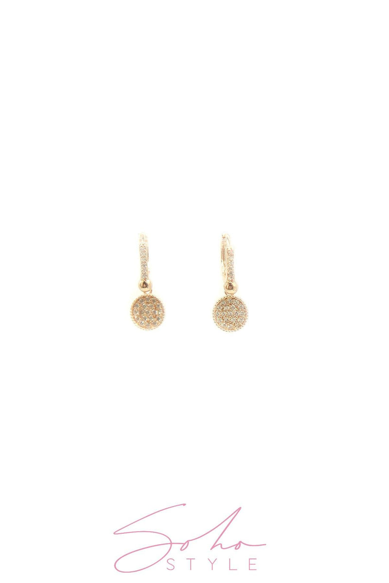 Diamond circle pendant earring Earring Soho Style