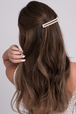 Extra-Long Faux Pearl & Black Ribbon Barrette - Soho Style