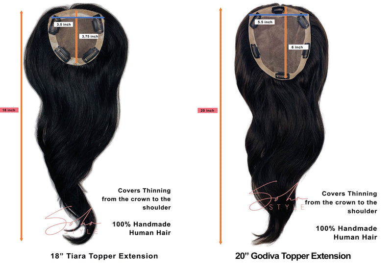Tiara - 18'' Remy Human Hair Volume Topper Extension Hair Extension Soho Style