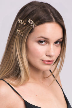 Gold Branch Slogan Barrette Set Barrette Soho Style