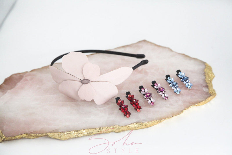 Pink Flower Headband And 6PCS Mini Flower Hair Clips Set Sets Sale