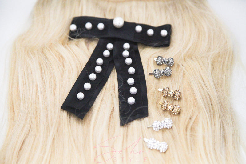 6PCS Mini Bow Magnet Barrette and Pearl Ribbon Barrette Set sets Sale