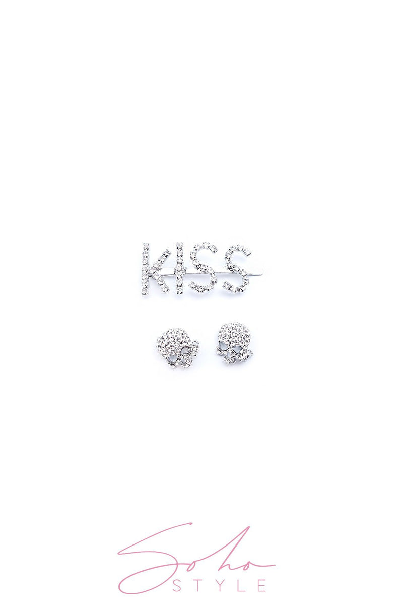 3PCS Kiss pin and Skull barrettes set hair acc Sale