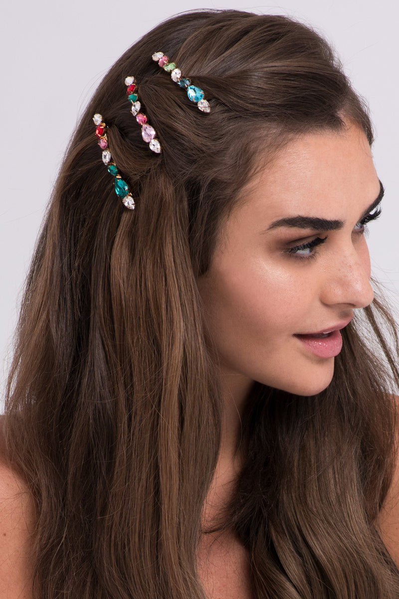 Soho Style Multi-Colored Bejeweled Barrette set Hair Accessorie Soho Style