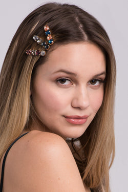 Multi-Colored 4-Stone Hair Bejeweled Barrettes Barrette Soho Style