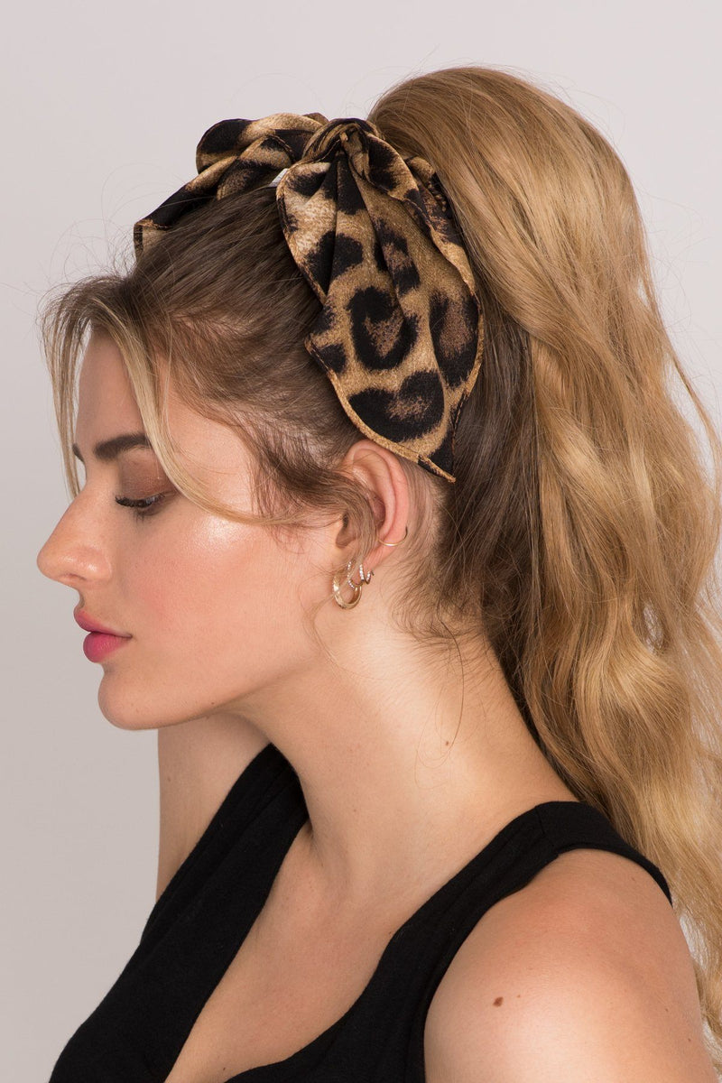 New Hollywood Glam Leopard Bow Scrunchie Ponytail Holder 2019