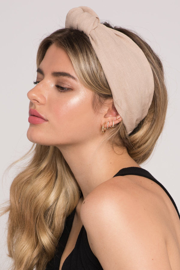 Soho Stye-Headband, Retro Linen Top-Knot Linen Headband in Taupe