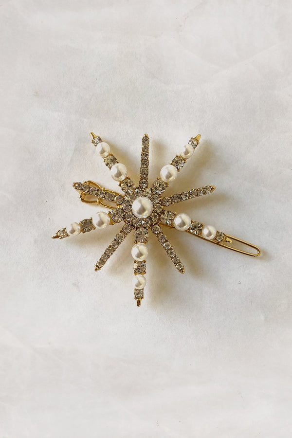Crystals And Pearls Starburst Barrette Barrette Soho Style