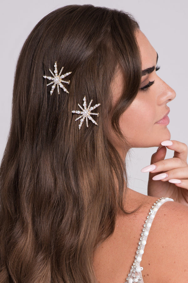 Crystals And Pearls Starburst Barrette