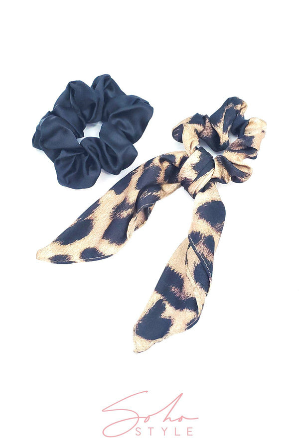 Leopard Bow Scrunchie and Hair Super Scrunchie Set Hair Accessorie Soho Style