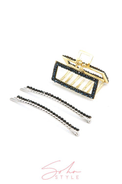Crystal Statement Bobby Pin & All Sparkle Rectangular Hair Jaw set Hair Accessorie Soho Style