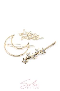 Supernova Crystal Bobby Pin & Gold Crescent Moon Barrette & Gilded Stars Barrette Set Hair Accessorie Soho Style