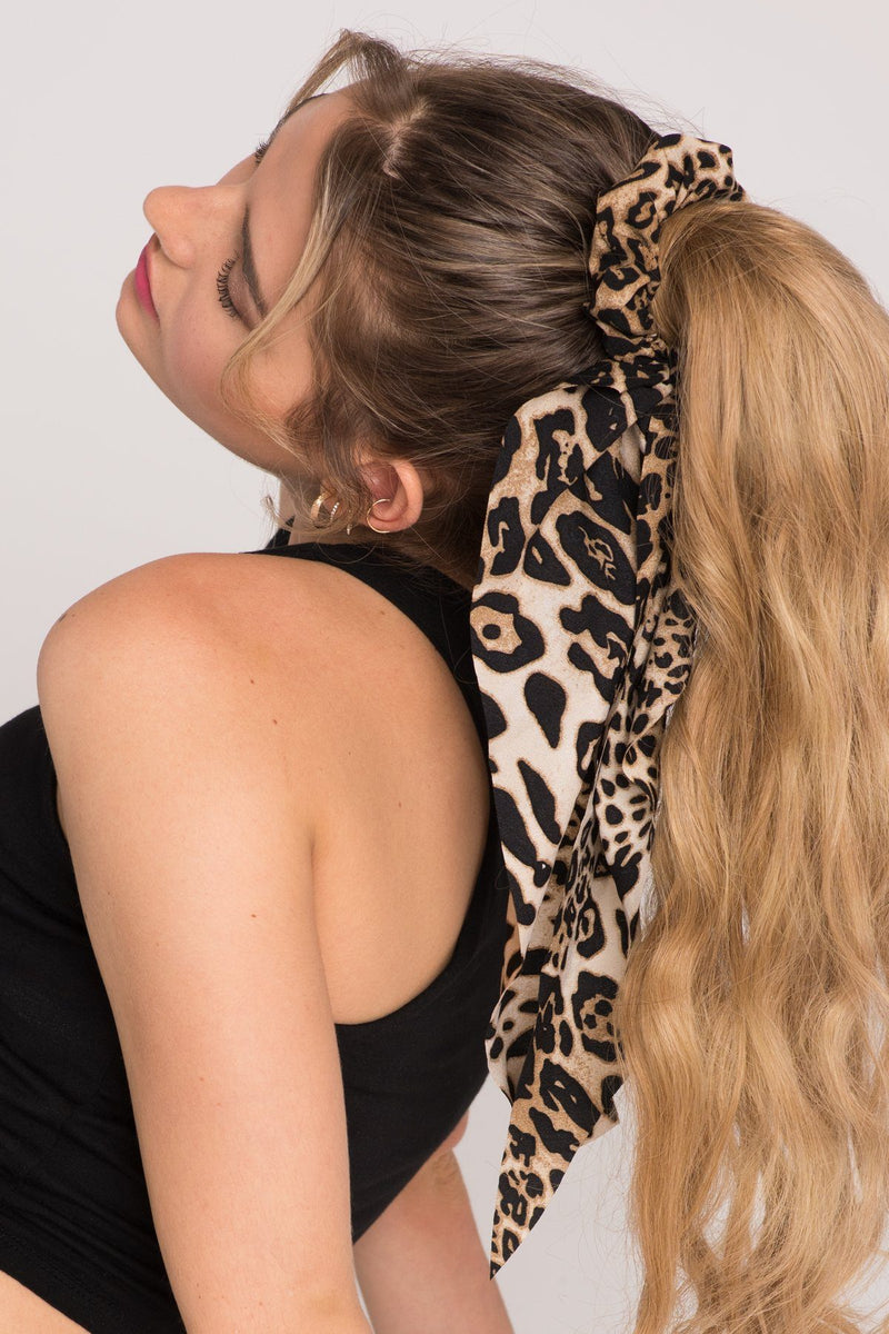 She's So Extra - Long Leopard Bow Scrunchie Ponytail Holder 2019