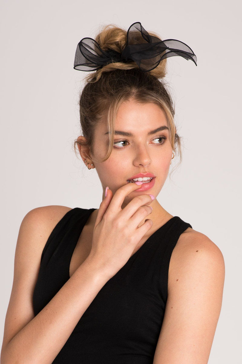Chiffon Wire-Bow Ponytail Holder and Pearl Pop Mini Bobby Pin Set Hair Accessorie Soho Style