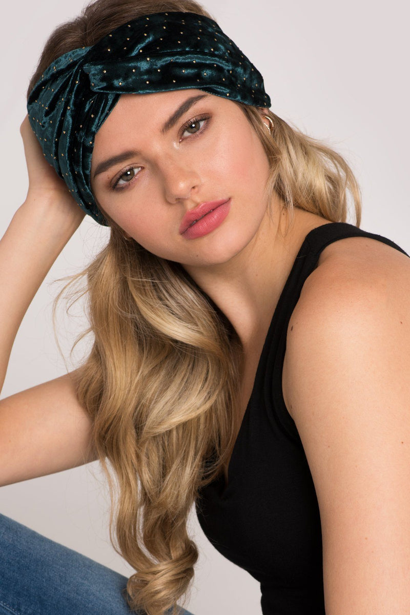 Starry Nights Gold-Studded Velvet Headband Headband 2019