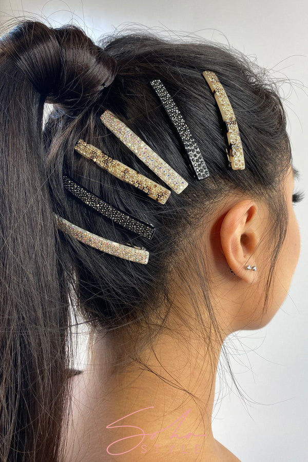 Black crystal hair clip Hair Accessorie ACUS49