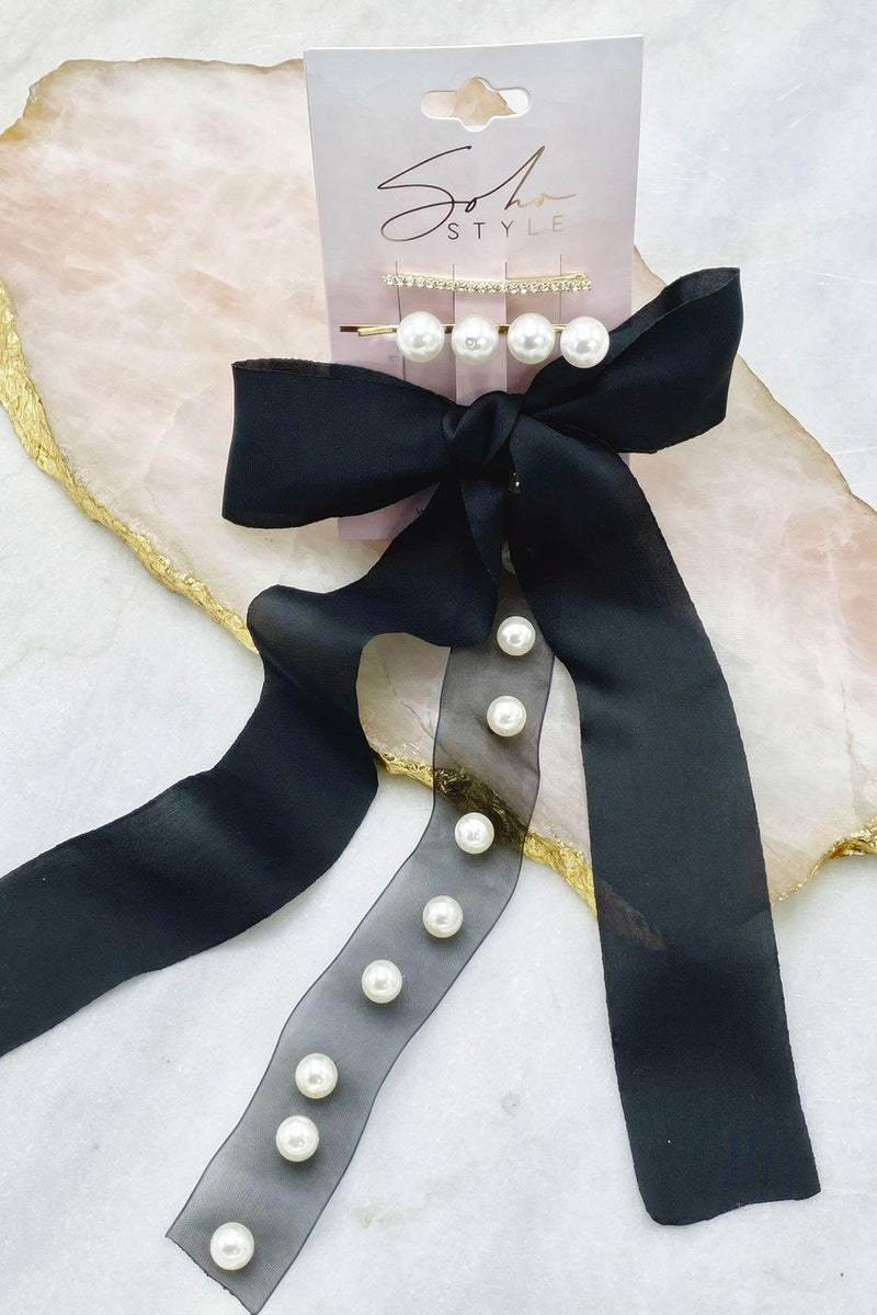 Pearls & Crystals Bobby Pin Duo and Satin Bow Barrette Set Bobby Pins Soho Style
