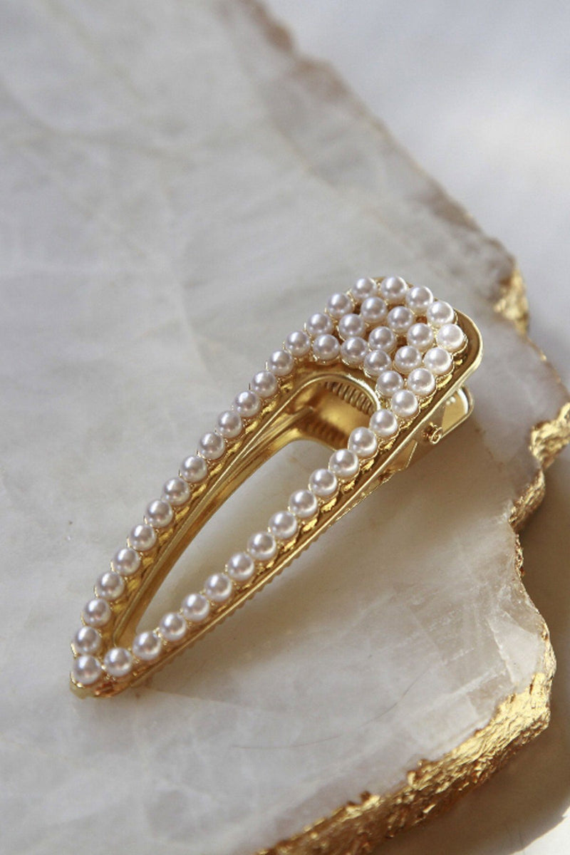 Large Gilded Pearl Hair Clip - Soho Style