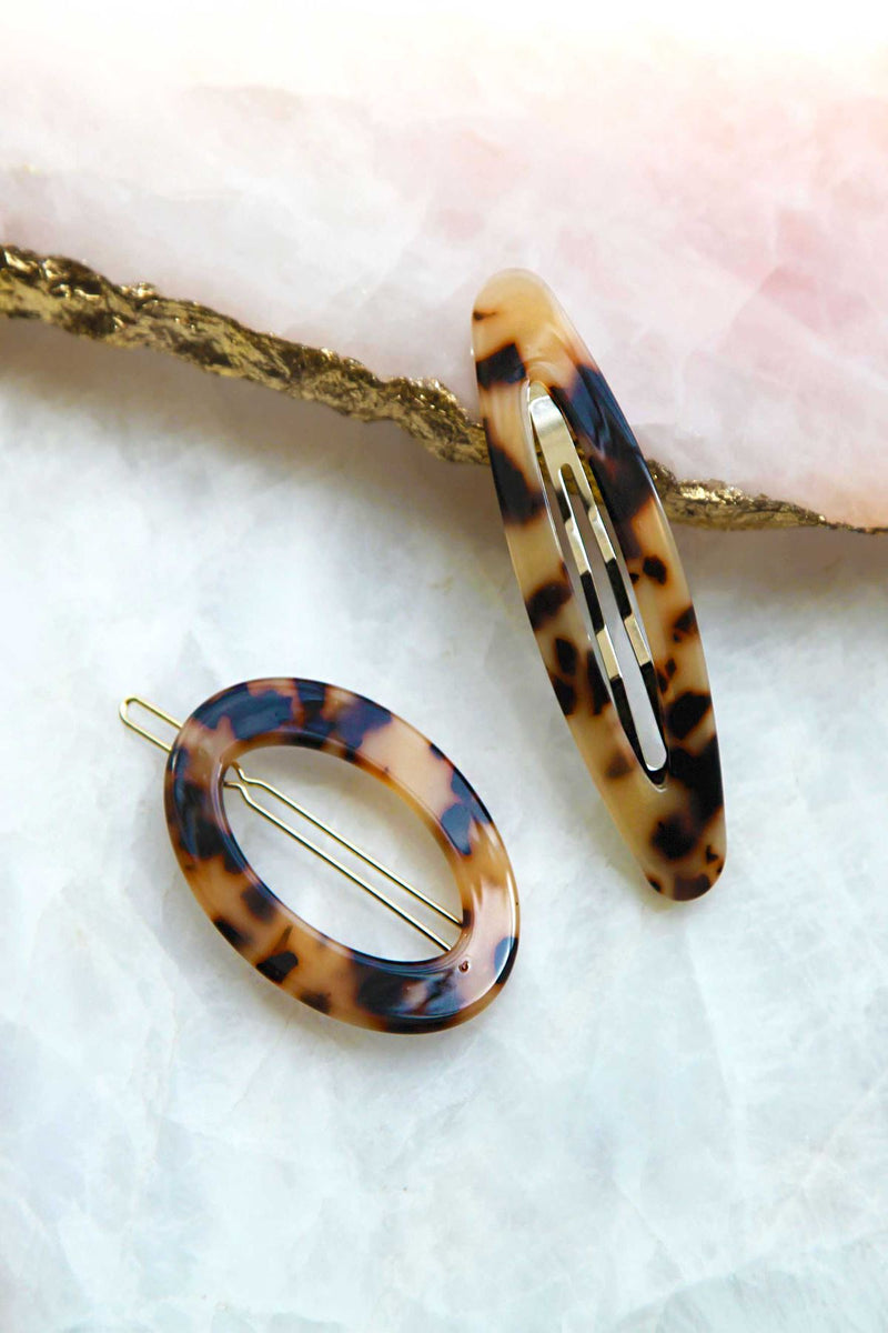 Tortoise Shell Oval Hair Clip And Barrette Set Sets 2019