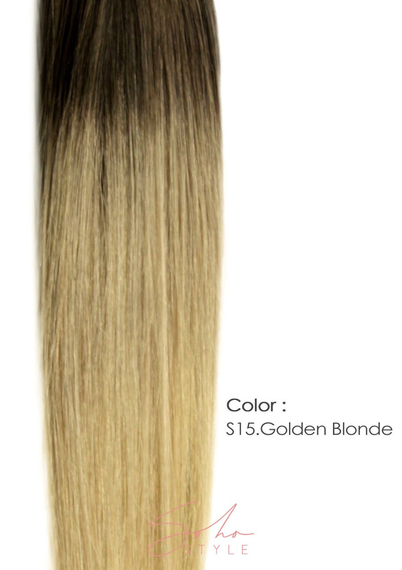 "Root Two Tone Ali 12"" Clip-In Remy Human Hair Light Volume Extension Set Hair Extension Soho Style"