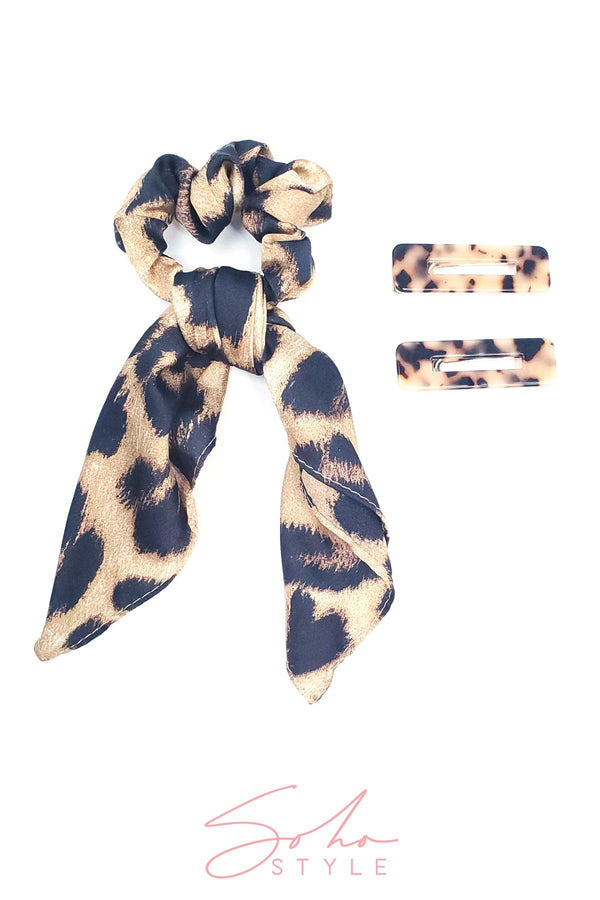 New Hollywood Glam Leopard Bow Scrunchie and Tortoise Resin Hair Clip Set Hair Accessorie Soho Style