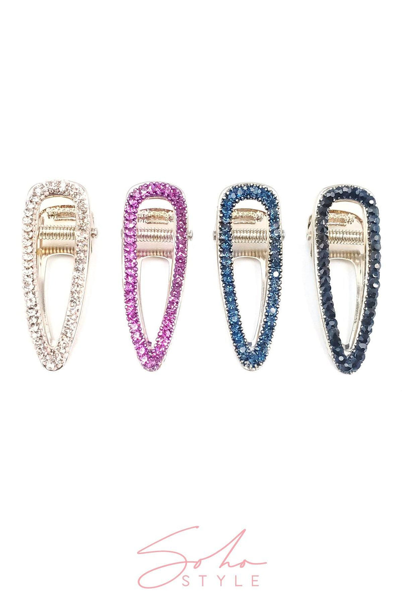 Crystal Teardrop Jeweled Hair Clip Set Hair Accessorie Soho Style