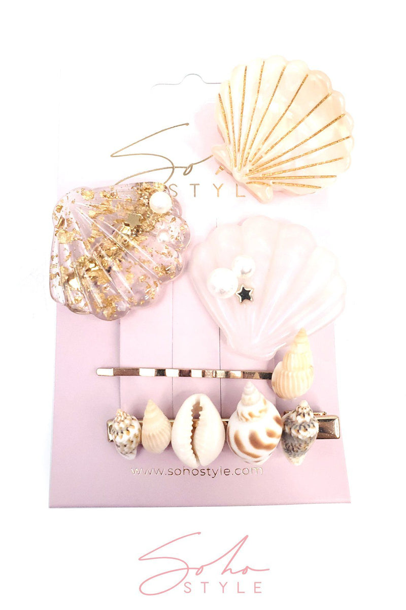Seashell Jaw and Conch Bobby Pin Set Hair Accessorie Soho Style