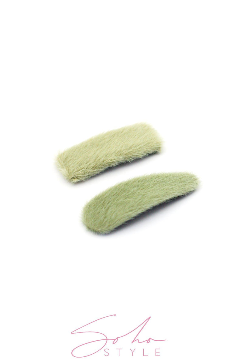 Oversized Fuzzy Snap Clip Sets Hair Clip 2020