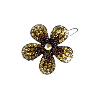 Soho Style Barrette Amber / Single Ombre Crystal Flower Barrette