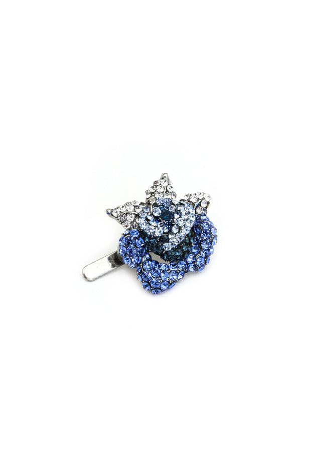 Soho Style Barrette blue Rose Crystal Mini Magnetic Barrette