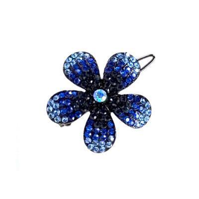 Soho Style Barrette Blue / Single Ombre Crystal Flower Barrette