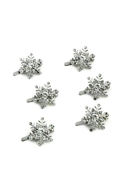 Soho Style Barrette clear Snowflake Crystal Magnetic Barrettes (6 piece set)