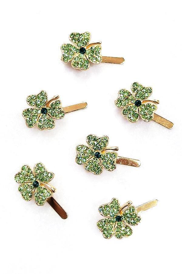 Soho Style Barrette Mini Lucky Crystal Clover Barrette