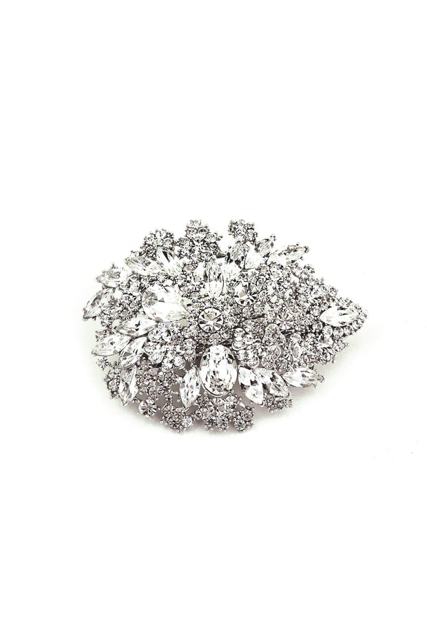 Soho Style Barrette Oval Crystal Flower Barrette