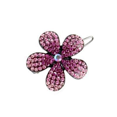 Soho Style Barrette Pink / Single Ombre Crystal Flower Barrette
