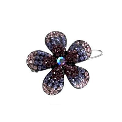 Soho Style Barrette Purple / Single Ombre Crystal Flower Barrette